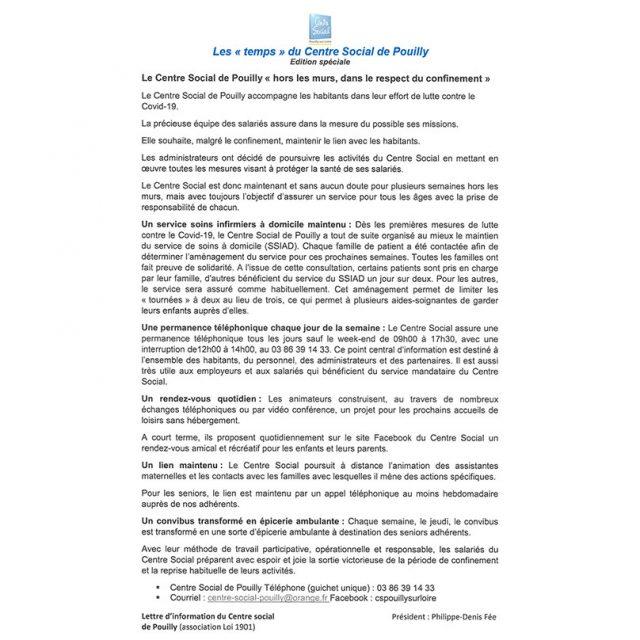 Mai – juin 2020 : Les temps du Centre Social de Pouilly