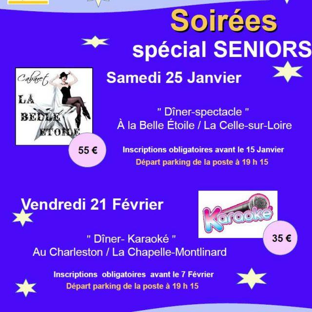 Soirées Seniors samedi 25 janvier et vendredi 21 février