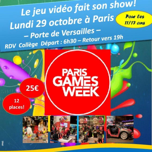 Sortie Paris Games Week le 29 octobre pour les Ados
